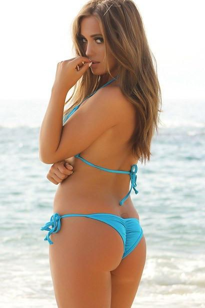 SoHot Swimwear Apparel & Accessories > Clothing > Swimwear One Size / Blue Blue Bikini with Triangle Top & Side Tie Scrunch Bottom Swimsuit Swimwear Set