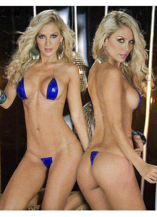SoHot Swimwear Apparel & Accessories > Clothing > Swimwear One Size / Blue Gold Extreme Metallic Micro Triangle Top & Side Tie G-String Thong Bikini Set (7 colors available) Gold Extreme Metallic Micro Triangle Top G-String Thong Bikini | SHOP NOW |