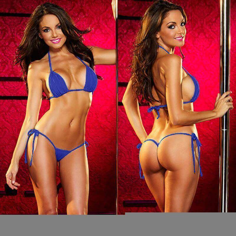 SoHot Swimwear Apparel & Accessories > Clothing > Swimwear One Size / Yellow Red Extreme Micro Triangle Top and Tie Side Thong G-String Bottom Set (Many colors available) Blue red white black pink yellow Extreme Micro Thong Bikini G-String