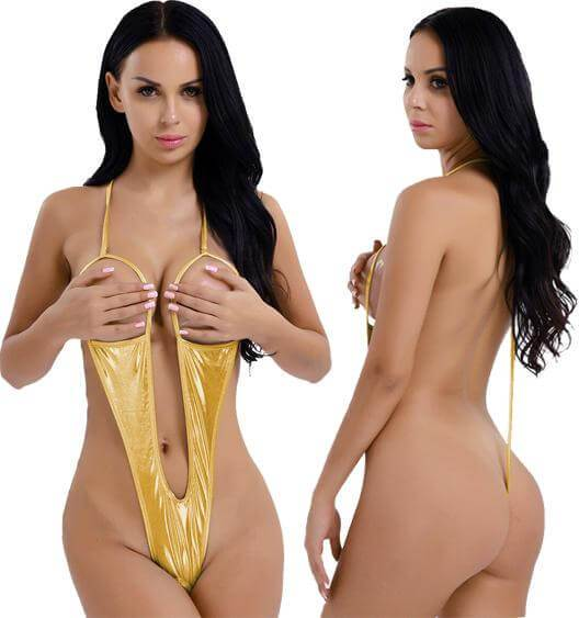 SoHot Swimwear Apparel & Accessories > Clothing > Swimwear One Size / Gold Metallic Gold Extreme Open Bust & Crotch Thong G-String One Piece Swimsuit Metallic Gold Bikini Micro Open Bust Crotch Thong G-String Swimsuit