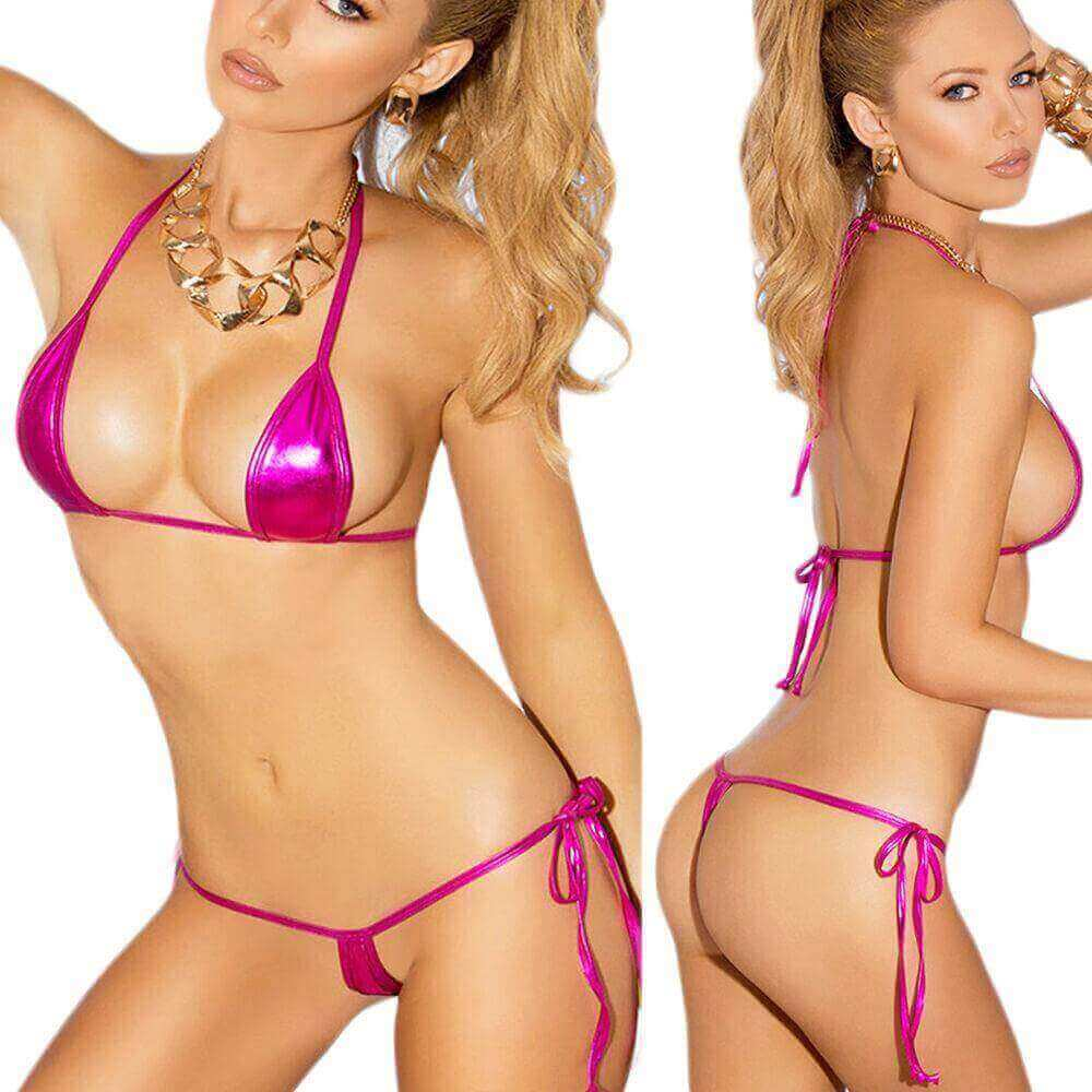 Hot Pink Extreme Metallic Micro Triangle Top & Side Tie G-String Thong Bikini Set (7 colors available)