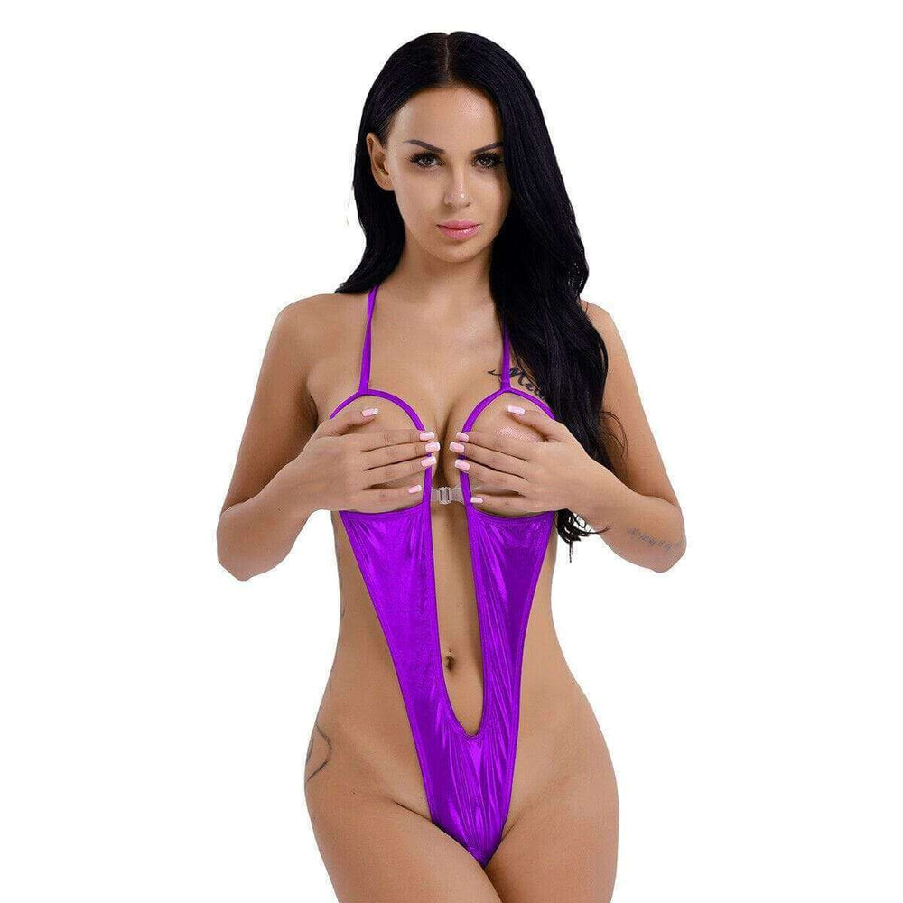 SoHot Swimwear Apparel & Accessories > Clothing > Swimwear One Size / Purple Wet Black Extreme Open Bust & Crotch Thong G-String One Piece Swimsuit Wet Black Metallic Bikini Micro Open Bust Crotch Thong G-String Swimsuit