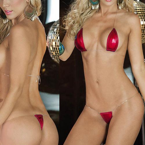 SoHot Swimwear Apparel & Accessories > Clothing > Swimwear One Size / RED Pink Extreme Metallic Micro Triangle Top & Side Tie G-String Thong Bikini Set (7 colors available) Pink Extreme Metallic Micro Triangle Top G-String Thong Bikini | SHOP NOW |