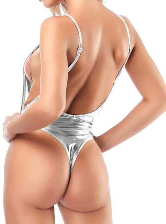 SoHot Swimwear Apparel & Accessories > Clothing > Swimwear Silver Metallic Open Side Thong G-String One Piece Swimsuit (Many colors available) Micro Metallic Silver Side Boob Thong G-String One Piece Swimsuit
