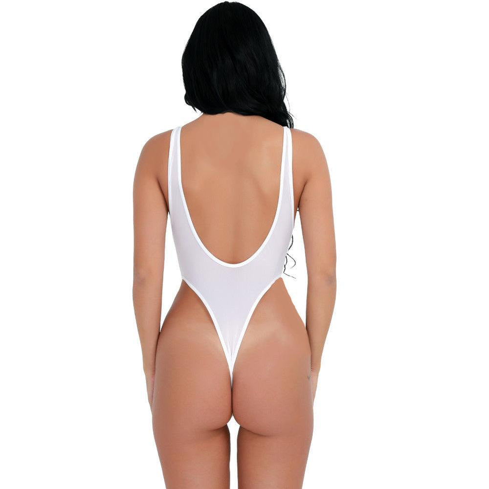 SoHot Swimwear Apparel & Accessories > Clothing > Swimwear White Sheer Extreme High Thigh Cut Thong One Piece Swimsuit Swimwear (Black also available)