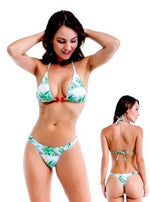 Nice Floral Print Triangle Top & Thong Bottom Set