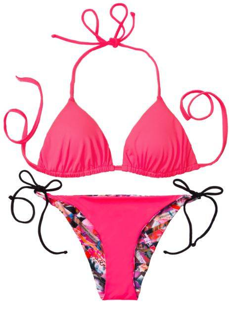 Thaikila Apparel & Accessories > Clothing > Swimwear Print / One Size Thaikila Shred Reversible Triangle Top and Side Tie Brazilian Bottom Bikini Swimwear Set