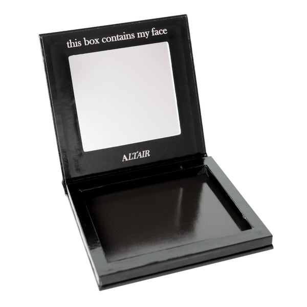 This box contains my face Black Empty Magnetic Makeup Palette with Mirror for eyeshadows by Altair Beauty - Small, travel size.  Fits 9 (26mm) pans