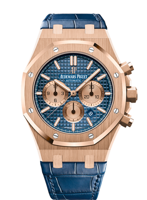 Audemars Piguet Royal Oak 41mm Chronograph Rose Gold Blue on Blue Alligator Strap