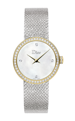La D de Dior Satine 25mm Gold Steel Diamonds