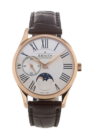 Zenith Elite Ultra Thin 33mm Moonphase Rose Gold Leather