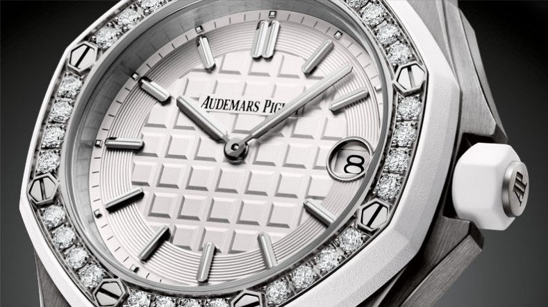 Audemars Piguet Royal Oak 37mm Offshore Steel White Rubber Diamond Bezel