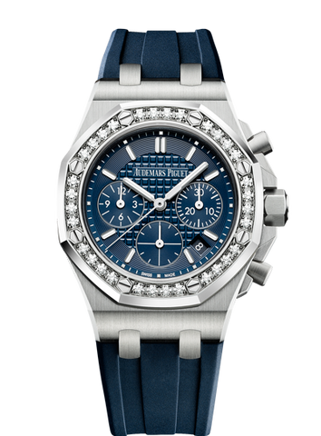 Audemars Piguet Royal Oak 37mm Off Shore Chrono Blue Rubber Steel Diamonds