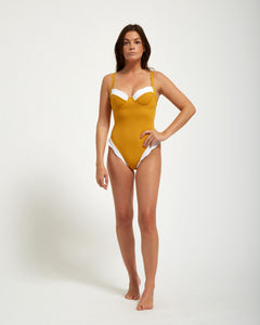 Henriette One Piece Moutarde - Eurvin Swimwear & Clothing - Australia Made