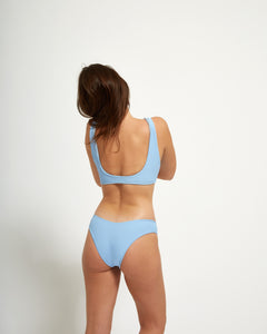 Luna Top Blue Rib - Eurvin Swimwear & Clothing - Australia Made