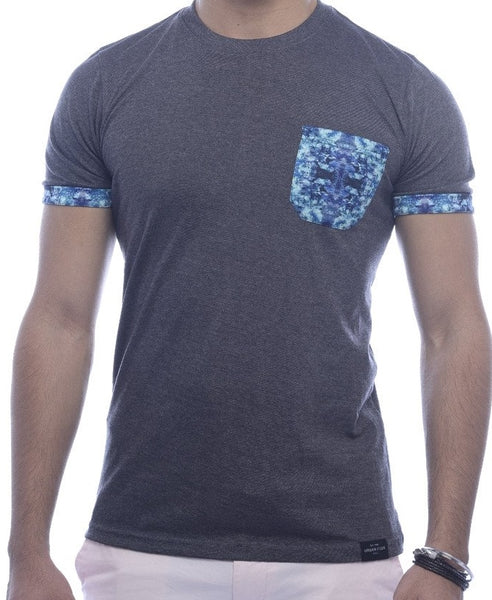 Grey with Blue Abstract Pocket & Sleeve Turn-Up Fitted T-Shirt
