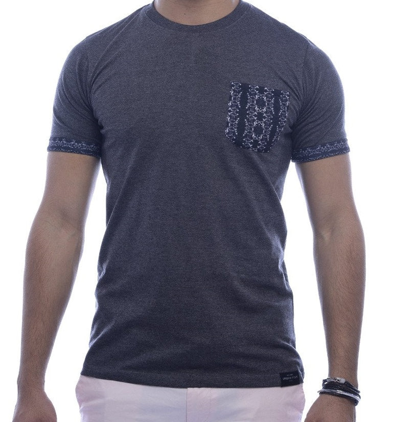 Grey with Dark Blue Contrast Pocket & Sleeve Turn-Up Fitted T-Shirt