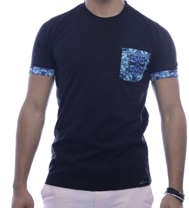 Black with Light Blue Contrast Pocket & Sleeve Turn-Up Fitted T-Shirt