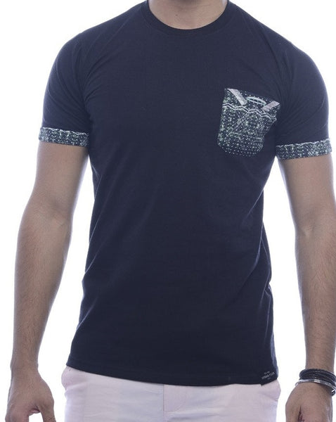 Black with Green Abstract Pocket & Sleeve Turn-Up Fitted T-Shirt