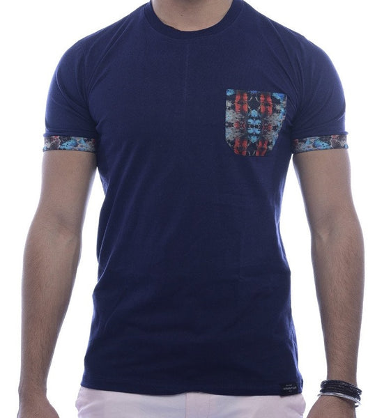 Navy with Multi-Colour Abstract Pocket & Sleeve Turn-Up Fitted T-Shirt