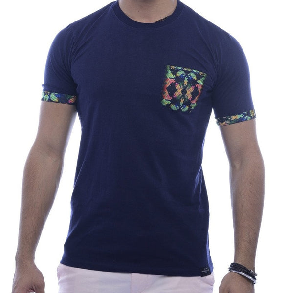 Navy with Psychedelic Abstract Pocket & Sleeve Turn-Up Fitted T-Shirt