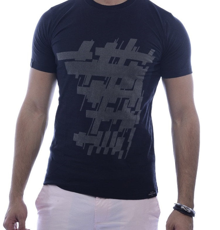 Digitally Abstract Black Fitted T-Shirt