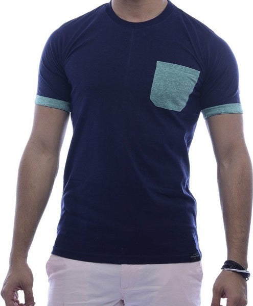 Navy with Seafoam-Green Contrast Pocket & Sleeve Turn Up Fitted T-Shirt