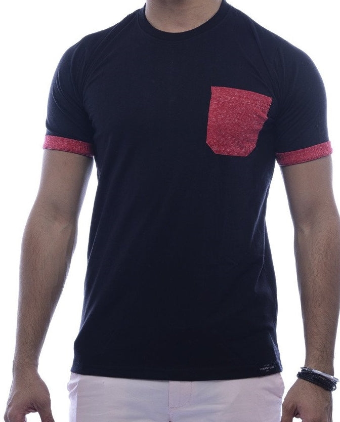 Black with Brick-Red Contrast Pocket & Sleeve Turn Up Fitted T-Shirt