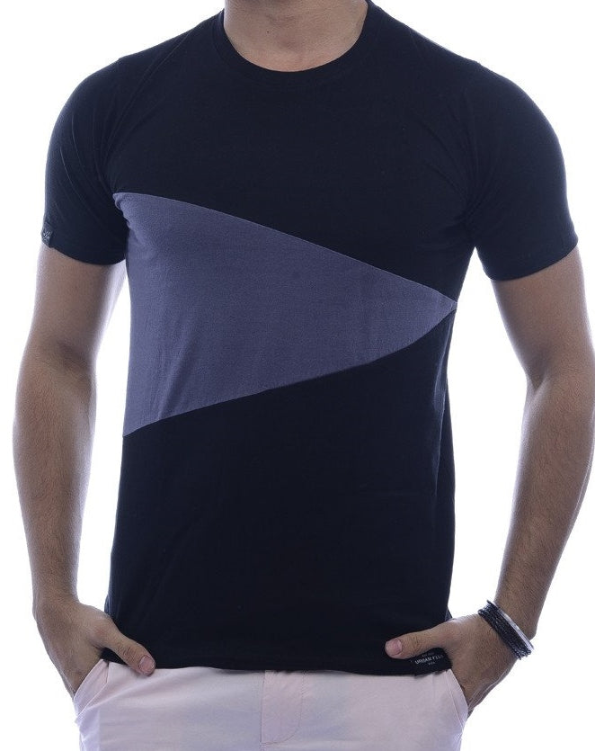 Black with Steel-Grey Triangle Fitted T-Shirt