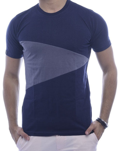 Navy with Steel-Grey Triangle Fitted T-Shirt