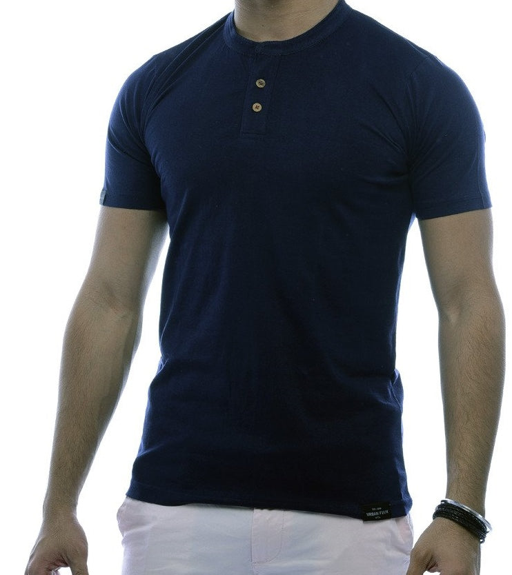 Navy 2 button Henley