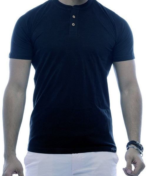 Black 2 button Henley