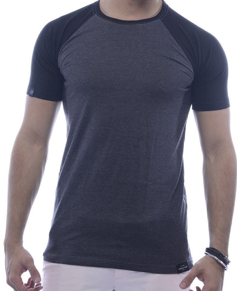 Grey & Black Raglan Sleeve T-Shirt