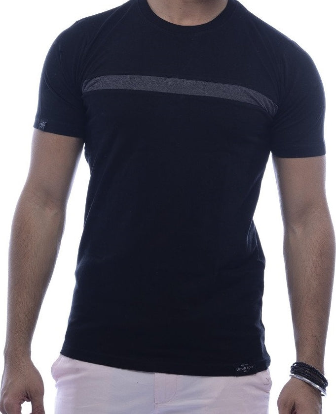 Black with Steel-Grey Stripe Fitted T-Shirt