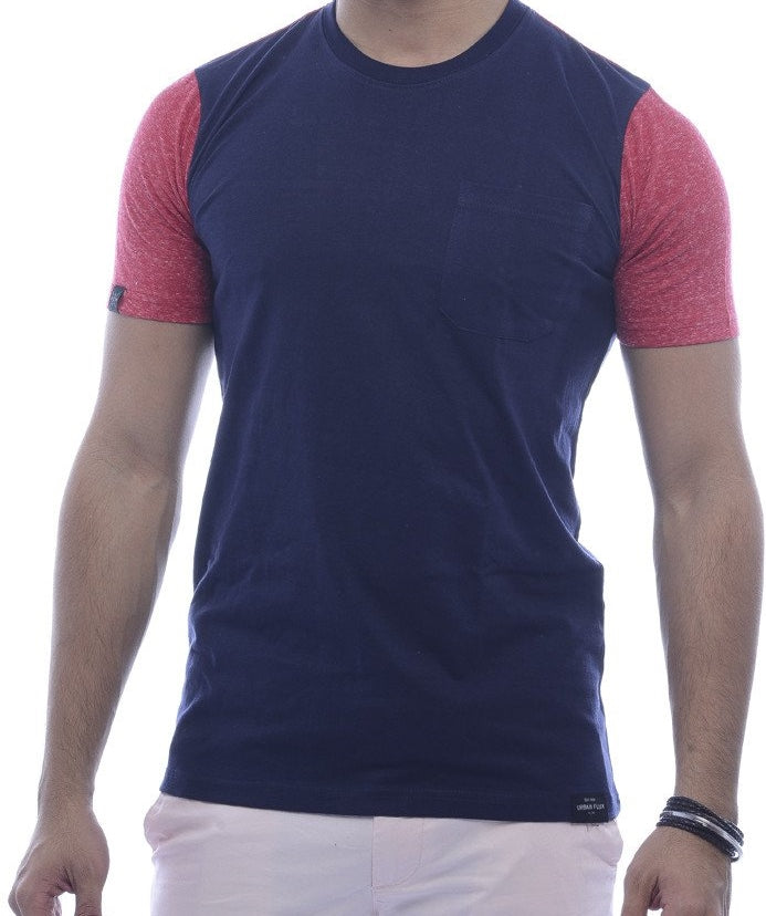 Navy Blue  with Brick-Red Contrast Back & Sleeves Fitted T-Shirt