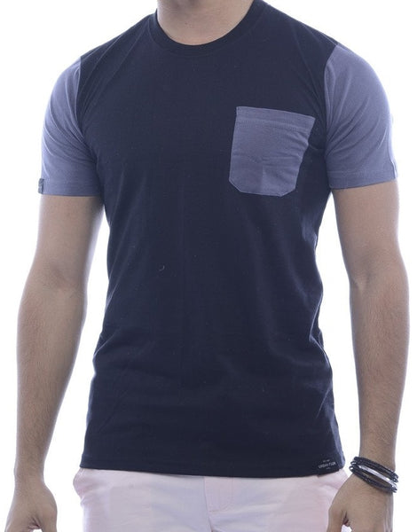 Black with Steel-Grey Contrast Pocket, Back & Sleeves Fitted T-Shirt