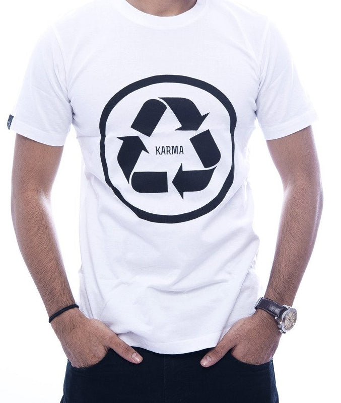 Recycle Karma White Fitted T-Shirt