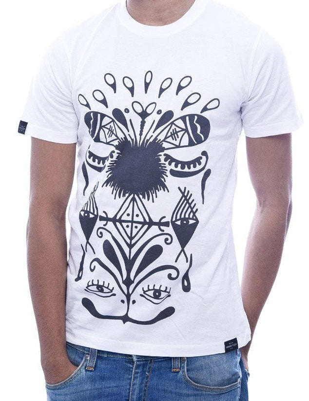 Aboriginal Print White Fitted T-Shirt
