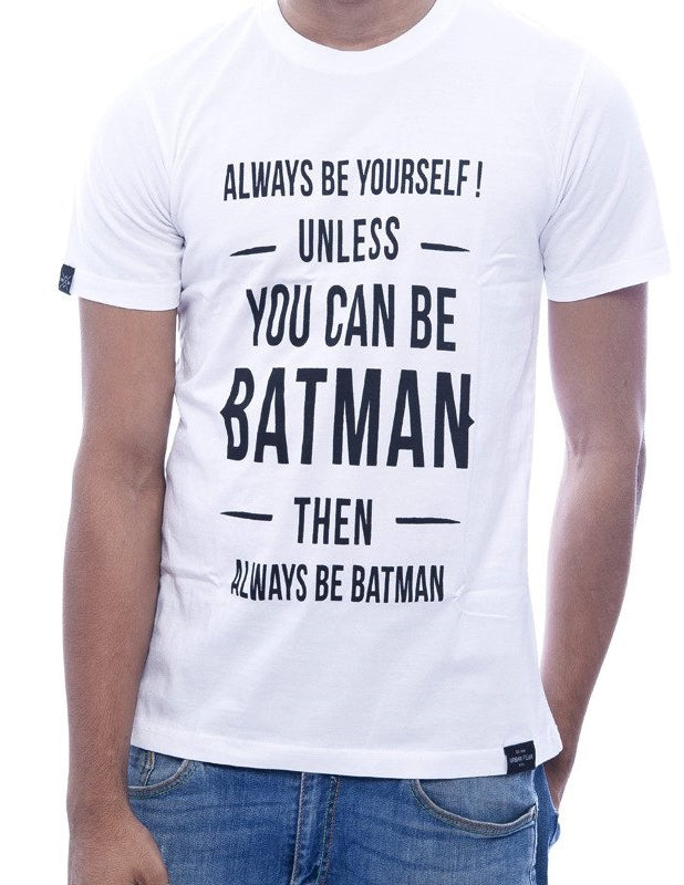 """If you can be Batman"" White Fitted T-Shirt"