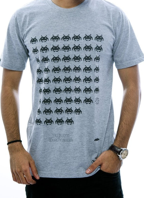 Space Invaders Light Grey Fitted T-Shirt