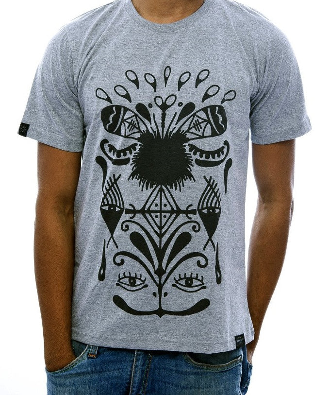 Aboriginal Print Light Grey Fitted T-Shirt