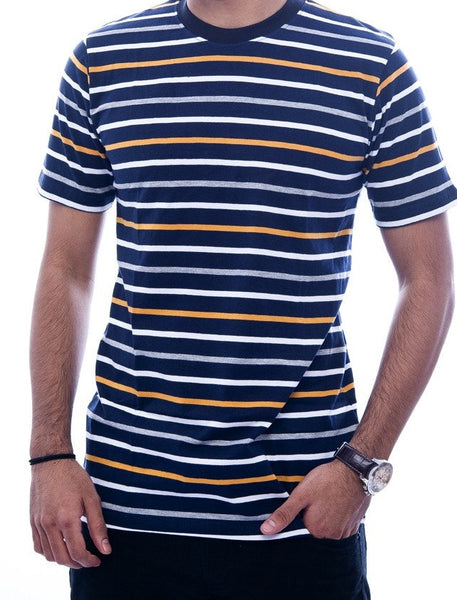 Black, Orange & White Striped T-Shirt