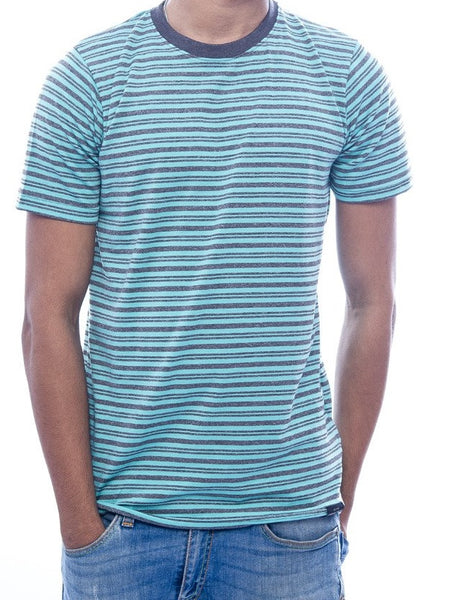 Seafoam Green & Grey Striped T-Shirt