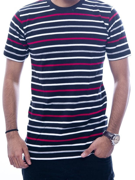 Red & White Striped Black T-Shirt
