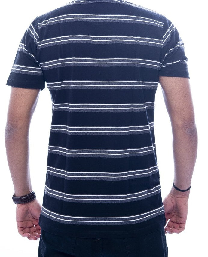 Grey & Black Striped T-Shirt