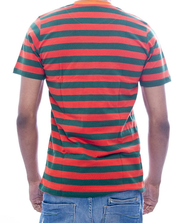 Lava Red & Forest Green Striped T-Shirt