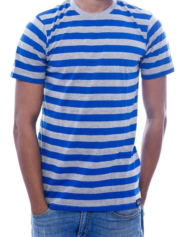 Blue & Grey Striped T-Shirt