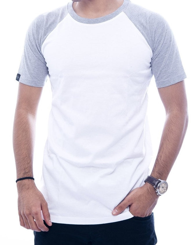 Light Grey & White Raglan Sleeve T-Shirt