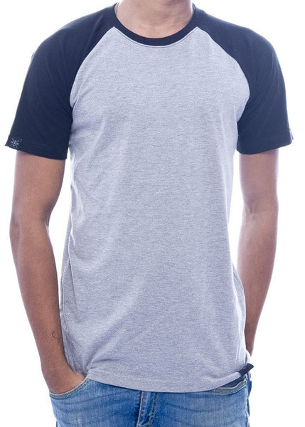 Light Grey & Black Raglan Sleeve T-Shirt
