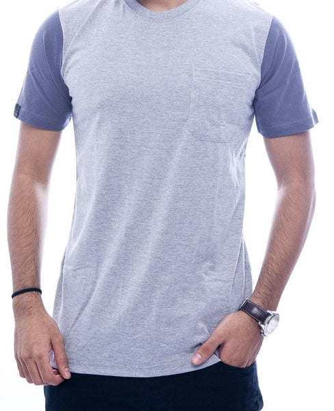 Light Grey with Steel Grey Contrast Back & Sleeves Fitted T-Shirt